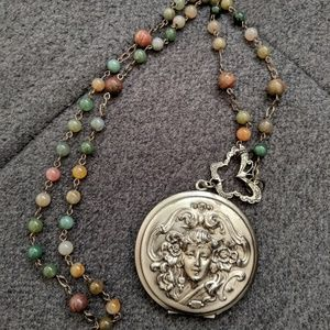 Forest fairy large locket statement necklace